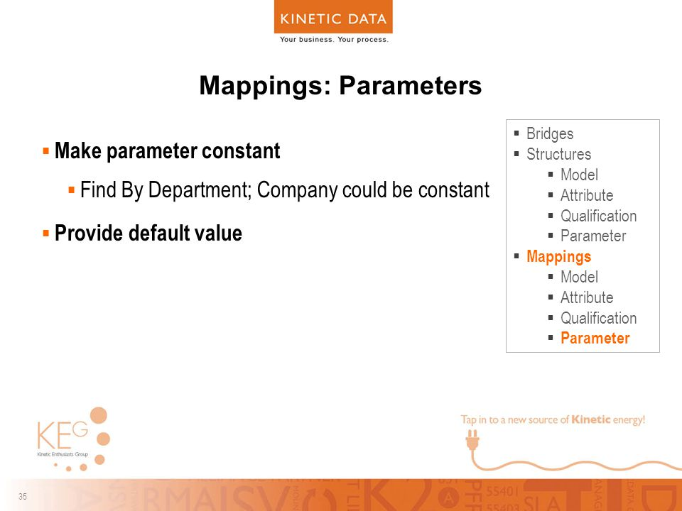 35 Mappings: Parameters  Make parameter constant  Find By Department; Company could be constant  Provide default value  Bridges  Structures  Model  Attribute  Qualification  Parameter  Mappings  Model  Attribute  Qualification  Parameter