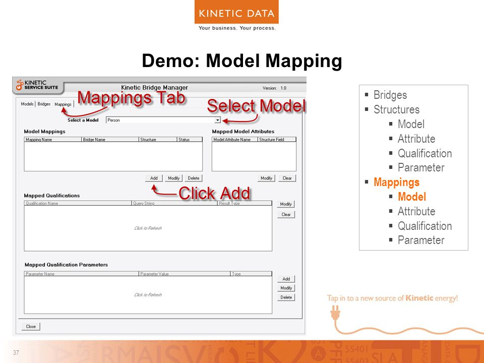 37 Demo: Model Mapping  Bridges  Structures  Model  Attribute  Qualification  Parameter  Mappings  Model  Attribute  Qualification  Parameter