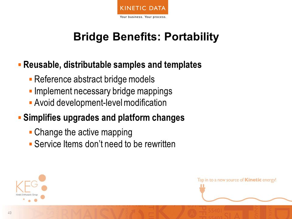 49 Bridge Benefits: Portability  Reusable, distributable samples and templates  Reference abstract bridge models  Implement necessary bridge mappings  Avoid development-level modification  Simplifies upgrades and platform changes  Change the active mapping  Service Items don't need to be rewritten