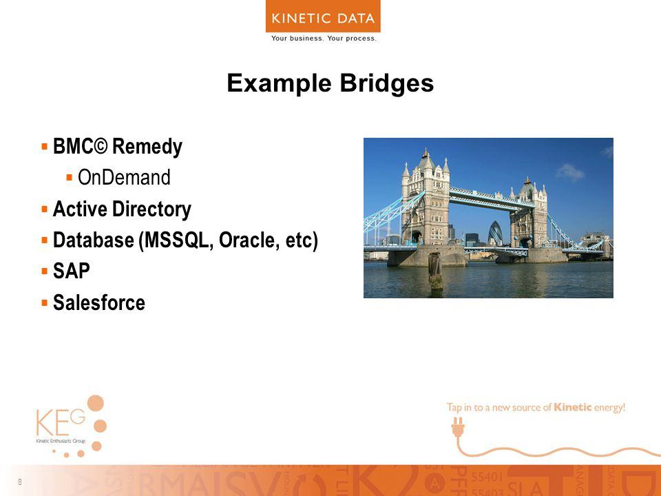 8 8 Example Bridges  BMC© Remedy  OnDemand  Active Directory  Database (MSSQL, Oracle, etc)  SAP  Salesforce