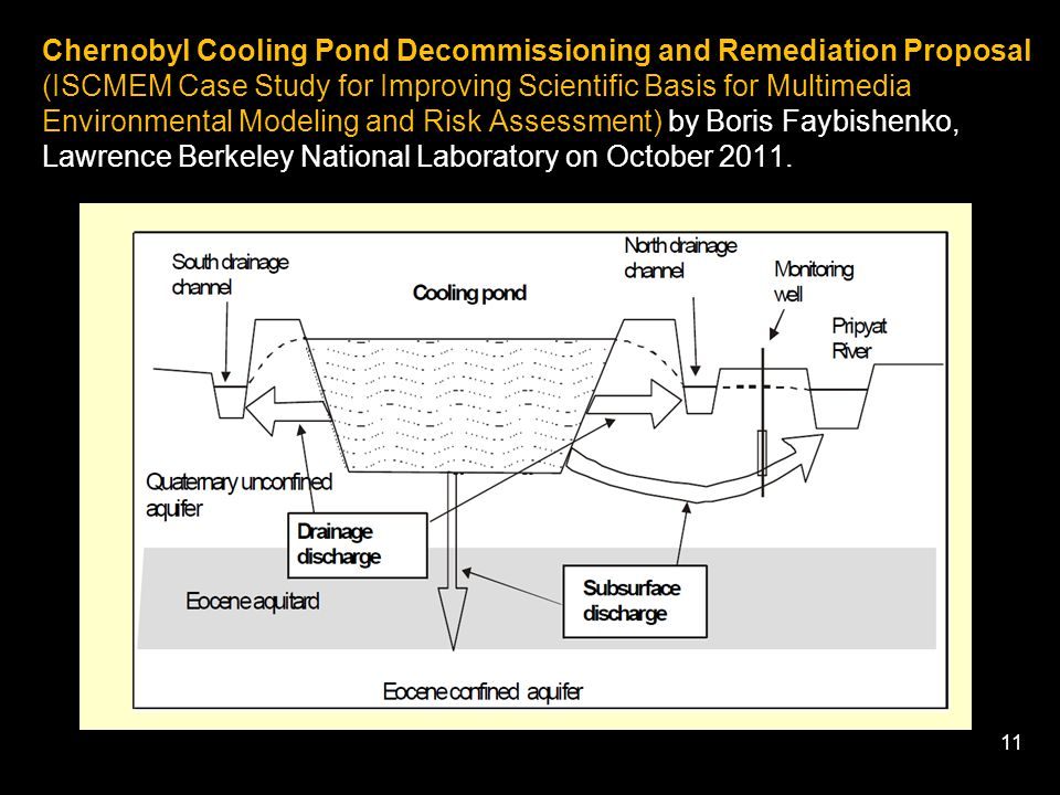 11 Chernobyl Cooling Pond Decommissioning and Remediation Proposal (ISCMEM Case Study for Improving Scientific Basis for Multimedia Environmental Modeling and Risk Assessment) by Boris Faybishenko, Lawrence Berkeley National Laboratory on October 2011.