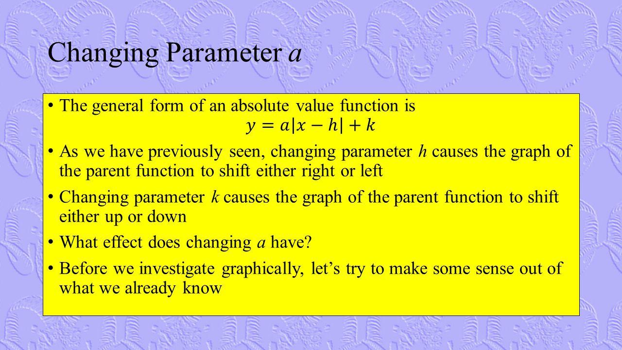 Changing Parameter a