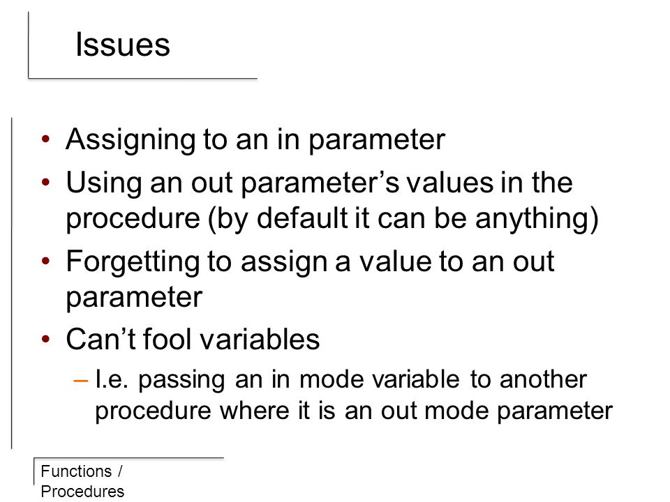 Functions / Procedures Issues Assigning to an in parameter Using an out parameter's values in the procedure (by default it can be anything) Forgetting to assign a value to an out parameter Can't fool variables –I.e.