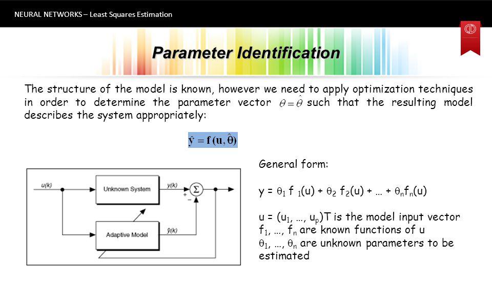 Parameter Identification NEURAL NETWORKS – Least Squares Estimation 5 A  = y