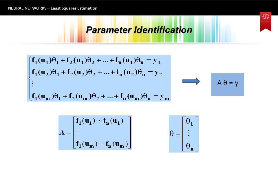 Parameter Identification NEURAL NETWORKS – Least Squares Estimation 6 A  + e = y