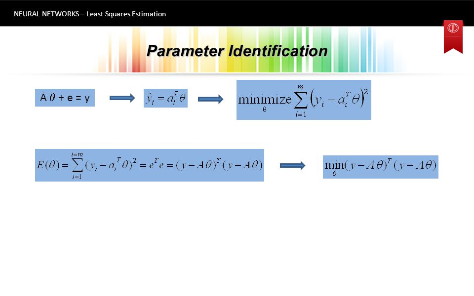 Parameter Identification NEURAL NETWORKS – Least Squares Estimation 6 A  + e = y