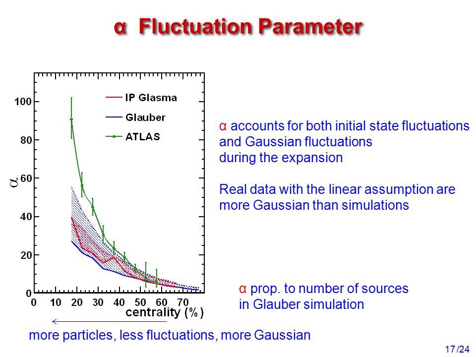 /24 α Fluctuation Parameter 17 α accounts for both initial state fluctuations and Gaussian fluctuations during the expansion Real data with the linear assumption are more Gaussian than simulations more particles, less fluctuations, more Gaussian α prop.