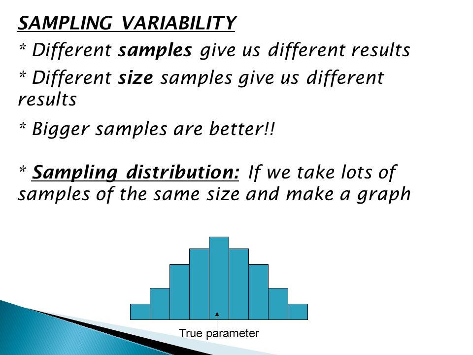 SAMPLING VARIABILITY * Different samples give us different results * Bigger samples are better!! * Sampling distribution: If we take lots of samples o