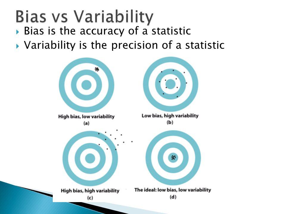  Bias is the accuracy of a statistic  Variability is the precision of a statistic