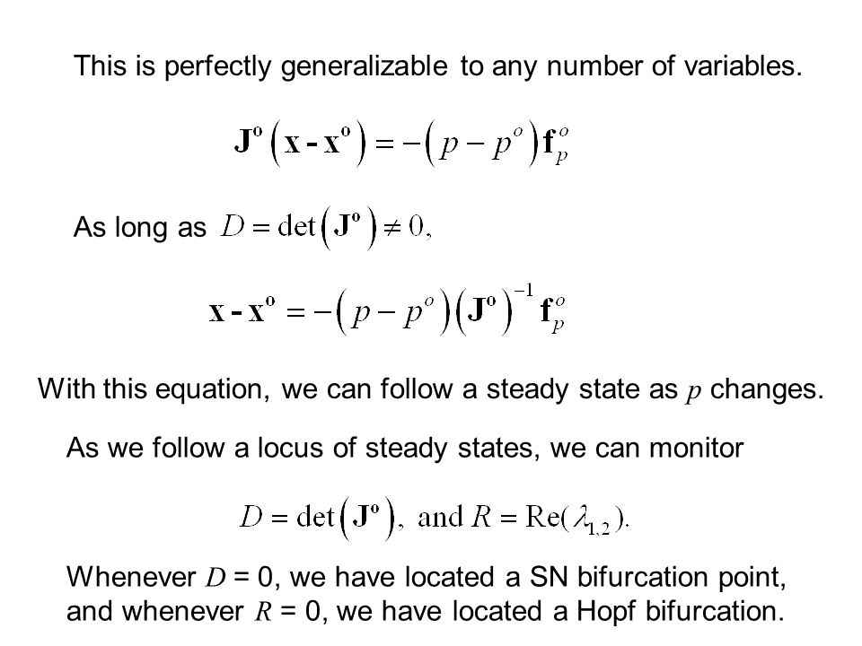Sub-critical Hopf Bifurcation Parameter, p Variable, x subHB CF supHB