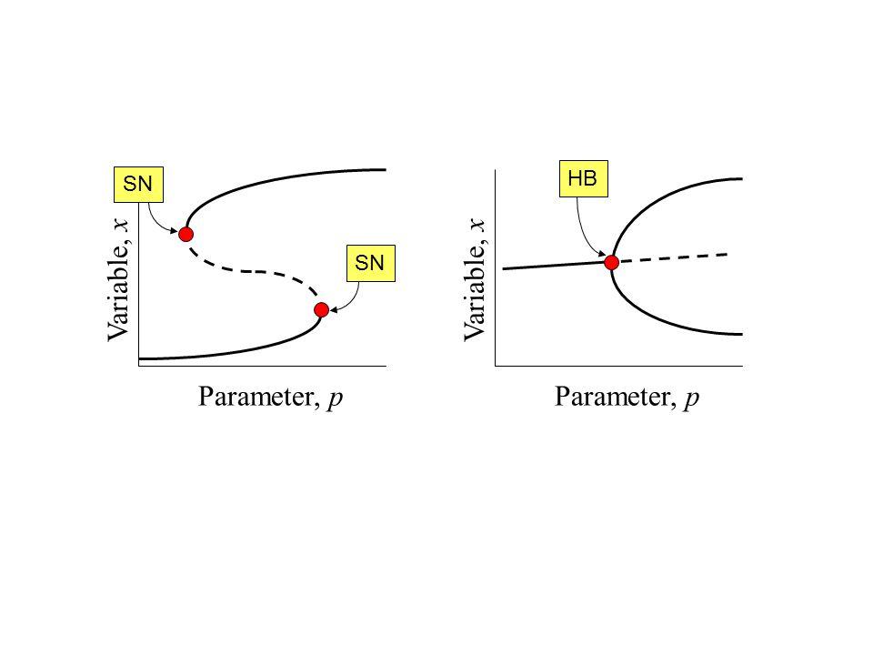 Two-parameter Bifurcation Diagram Parameter, p Parameter, q degenerate HB subHB supHB CF degenerate HB s u s Parameter, p Variable, x