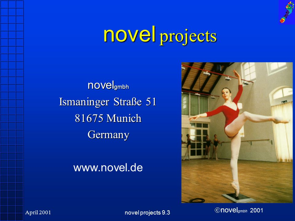  novel gmbh 2001 April 2001novel projects 9.3 novel projects Highlights User specified creation of projects User specified reports Analysis of various user selected parameters Link to novel database pro