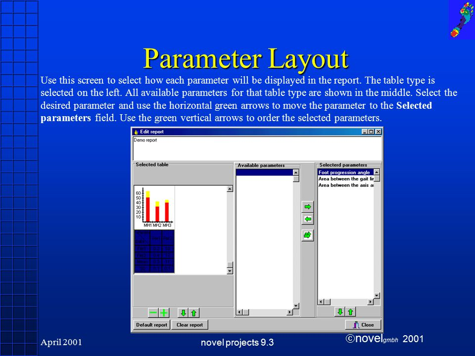  novel gmbh 2001 April 2001novel projects 9.3 Parameter Layout Use this screen to select how each parameter will be displayed in the report.