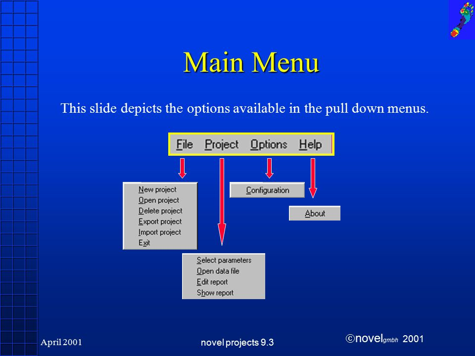  novel gmbh 2001 April 2001novel projects 9.3 Main Menu This slide depicts the options available in the pull down menus.