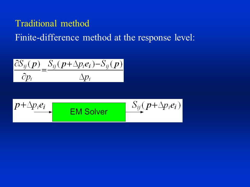 Traditional method Finite-difference method at the response level: