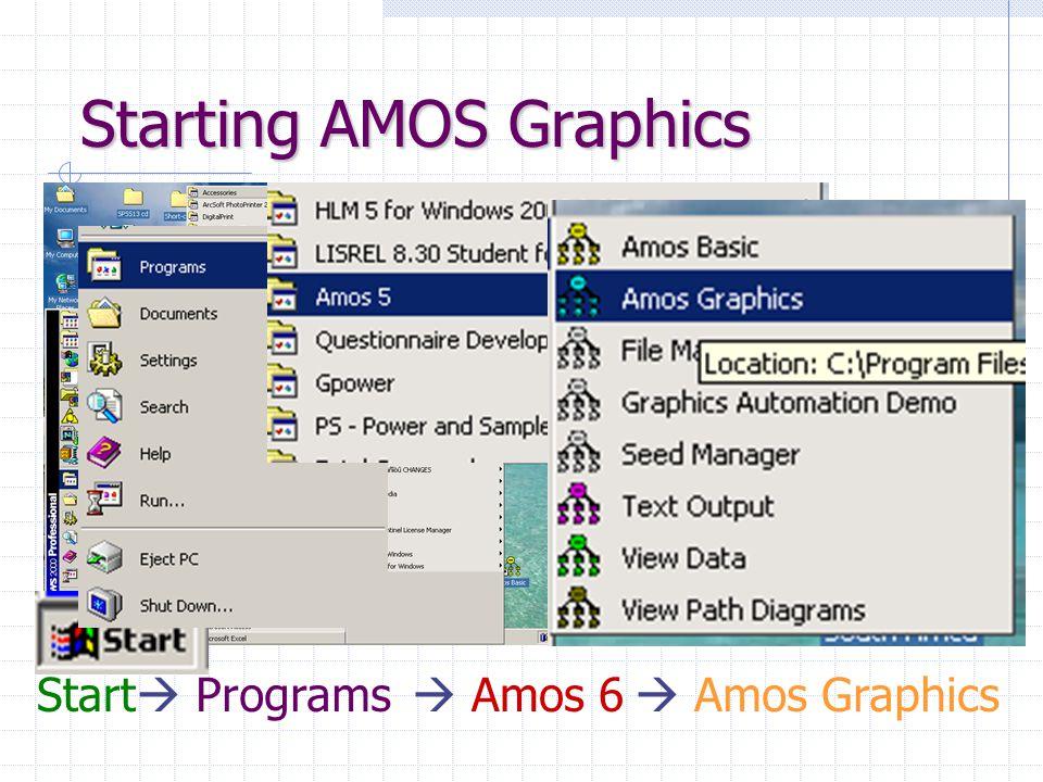 Starting AMOS Graphics Start  Programs  Amos 6  Amos Graphics