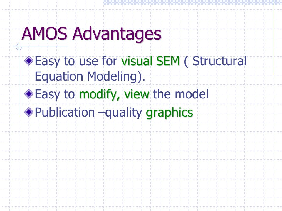 AMOS Advantages visual SEM Easy to use for visual SEM ( Structural Equation Modeling). modify, view Easy to modify, view the model graphics Publicatio