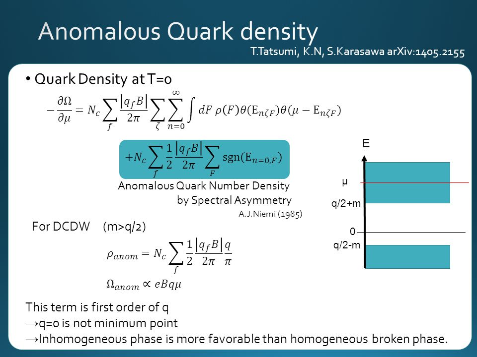 Quark Density at T=0 For DCDW (m>q/2) This term is first order of q → q=0 is not minimum point → Inhomogeneous phase is more favorable than homogeneous broken phase.