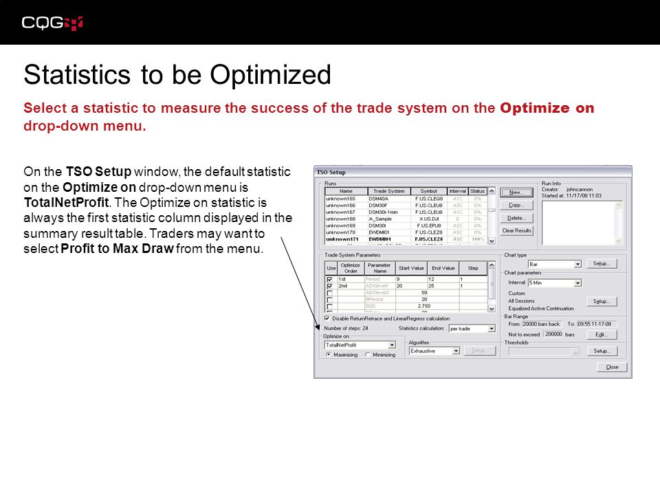 Statistics to be Optimized (continued) Choose from Exhaustive or Genetic algorithms to effectively test parameters.