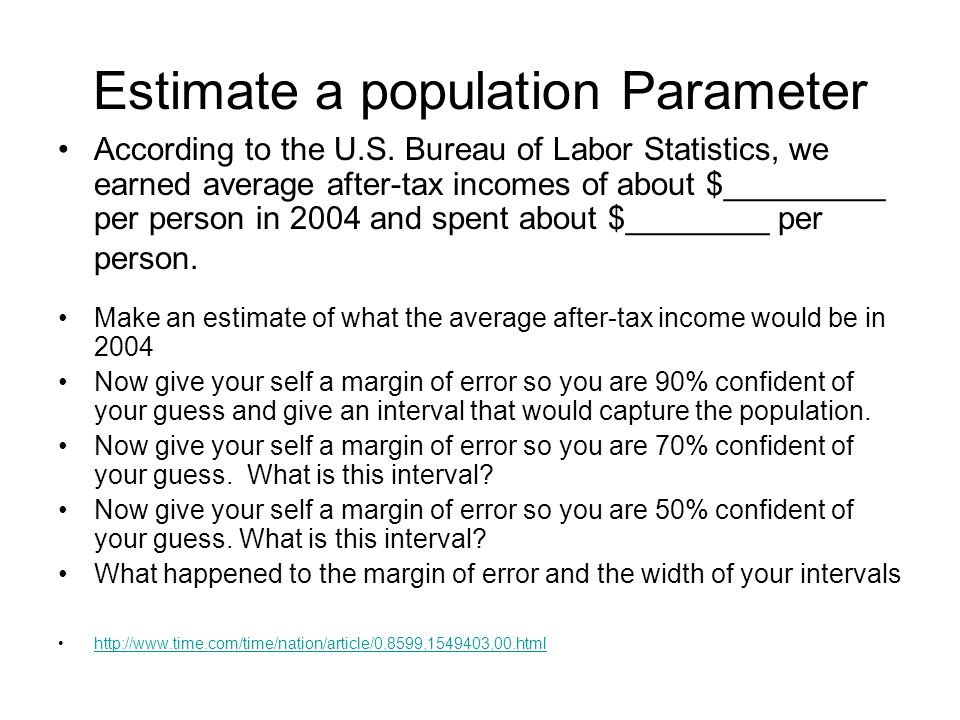 Estimate a population Parameter According to the U.S.
