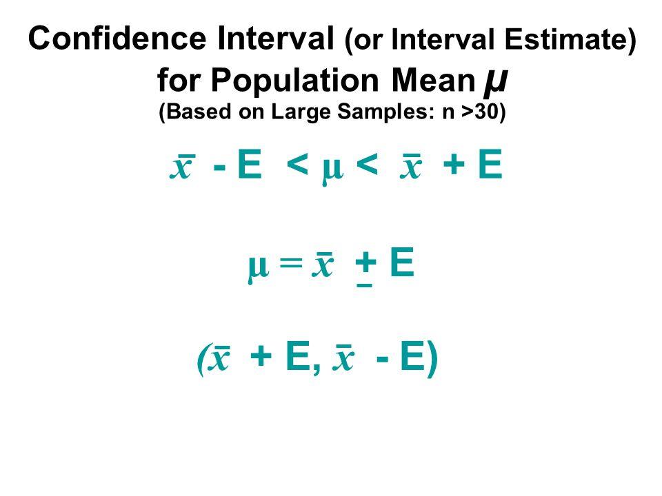 x - E < µ < x + E µ = x + E (x + E, x - E) Confidence Interval (or Interval Estimate) for Population Mean µ (Based on Large Samples: n >30)
