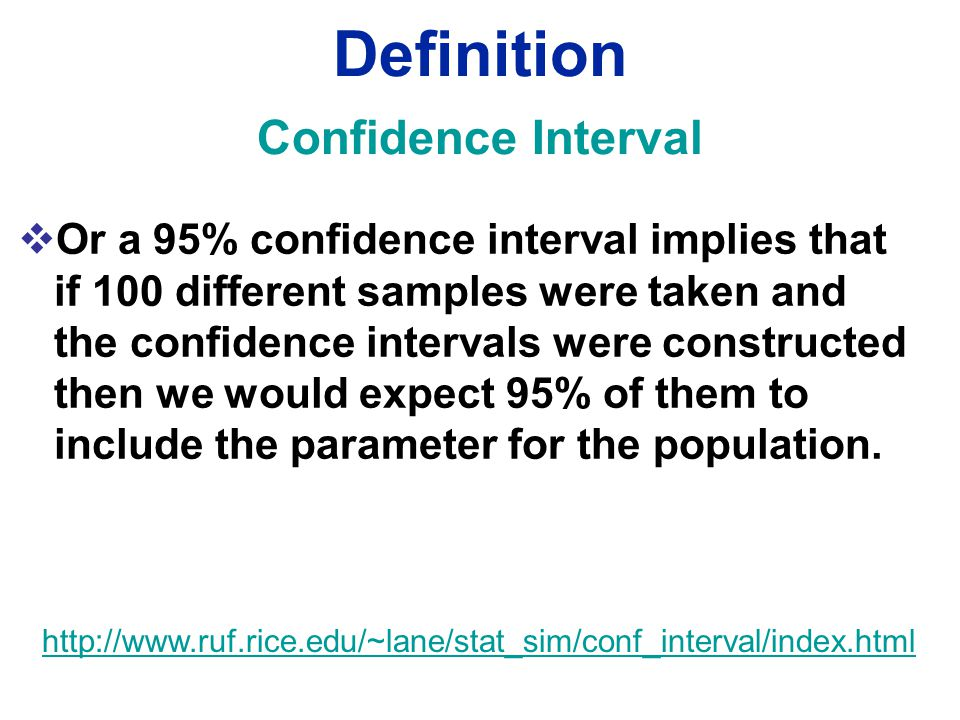  Or a 95% confidence interval implies that if 100 different samples were taken and the confidence intervals were constructed then we would expect 95% of them to include the parameter for the population.