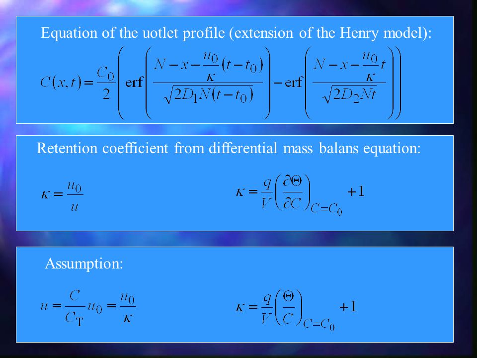 Equation of the uotlet profile (extension of the Henry model): Retention coefficient from differential mass balans equation: Assumption:
