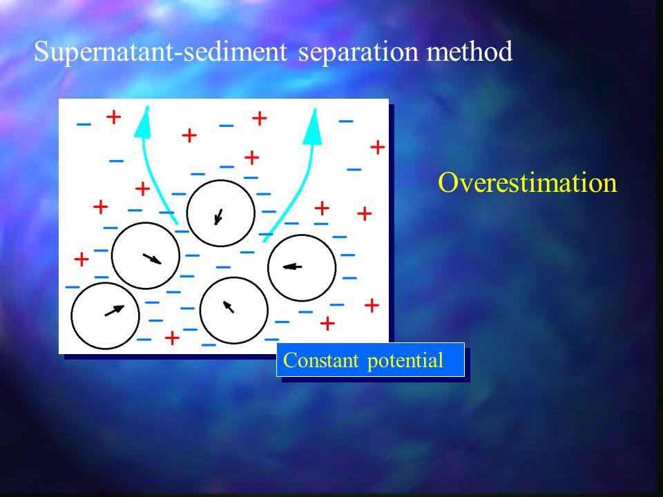 Supernatant-sediment separation method Constant potential Overestimation