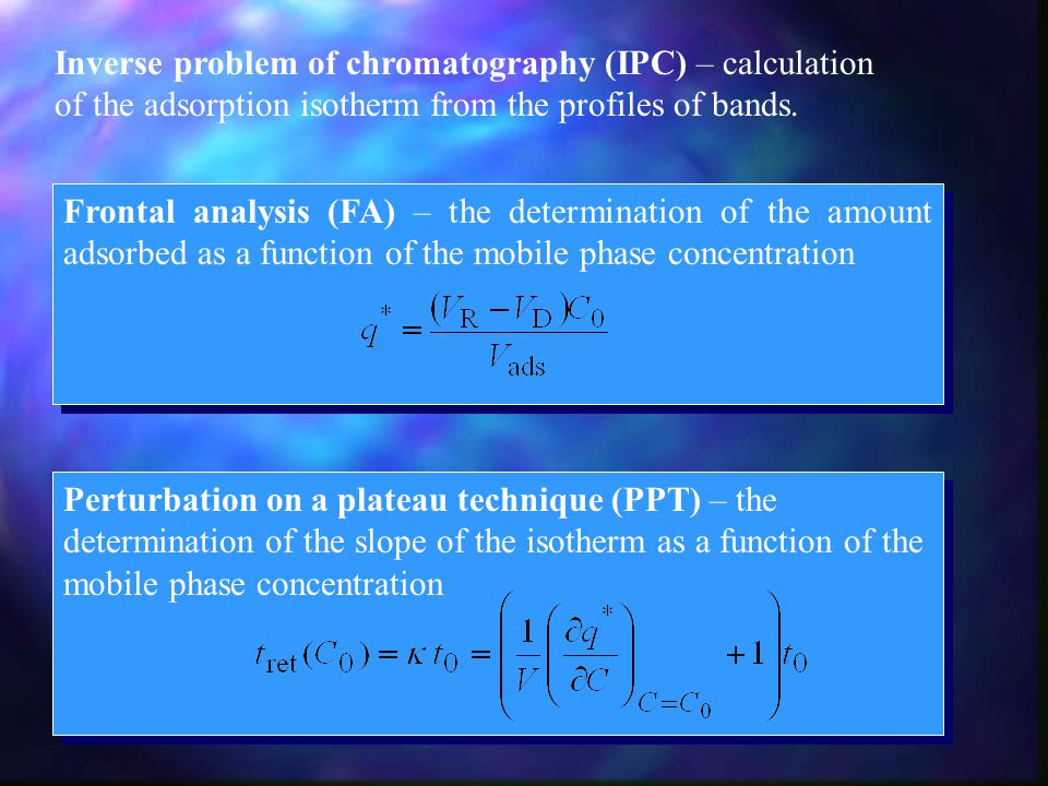 Inverse problem of chromatography (IPC) – calculation of the adsorption isotherm from the profiles of bands.