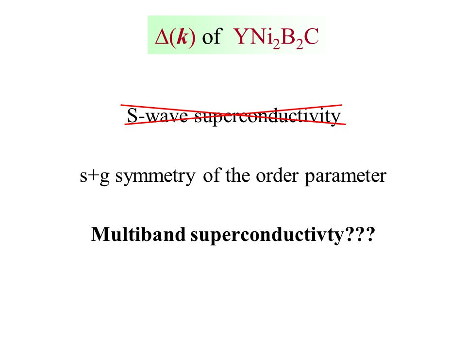  k  of YNi 2 B 2 C S-wave superconductivity s+g symmetry of the order parameter Multiband superconductivty???