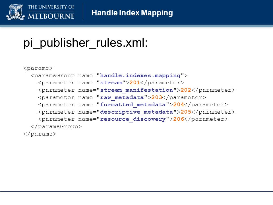 Handle Index Mapping pi_publisher_rules.xml: 201 202 203 204 205 206
