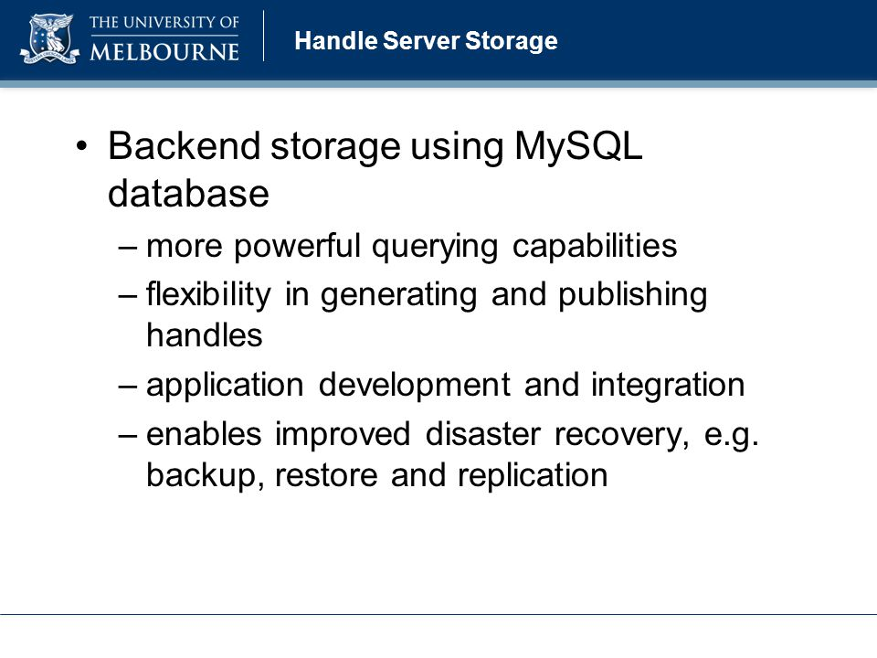Handle Server MySQL Configuration Handle Server MySQL configuration: 1.create a handle database and tables 2.download mysql jdbc connector and update java classpath 3.update server_config section in config.dct file 4.publish handles