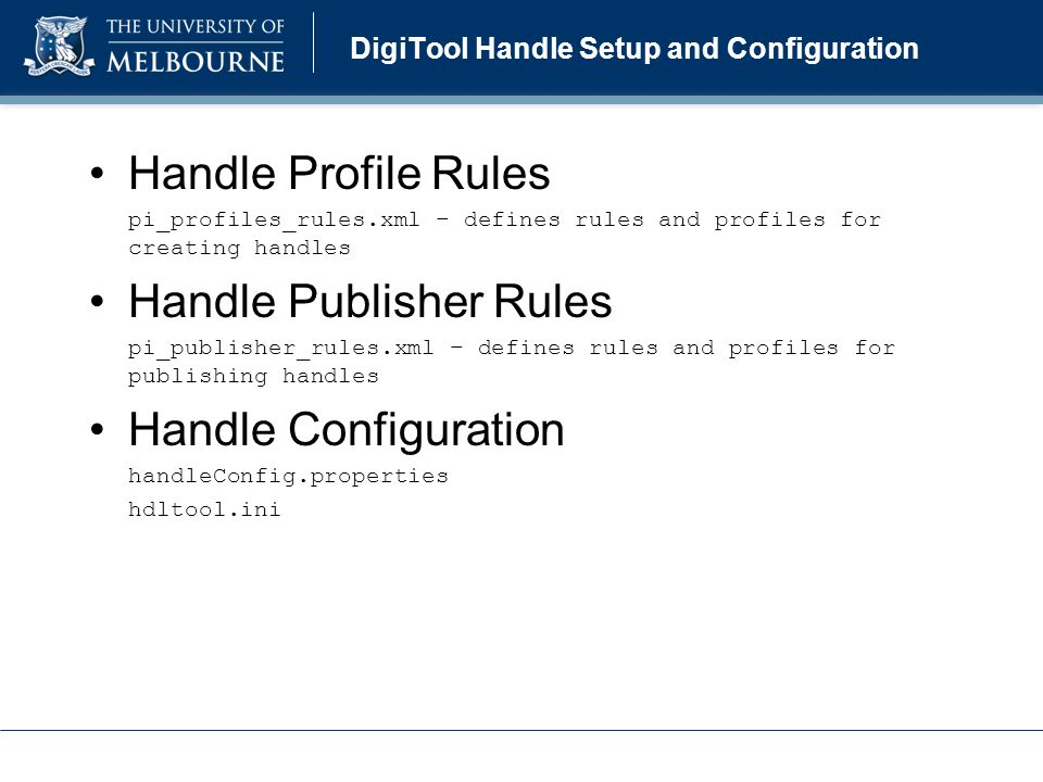 Handle Profile Rules Example Example pi_profiles_rules.xml: Rules VIEW handle_profile Profiles handle 10187...