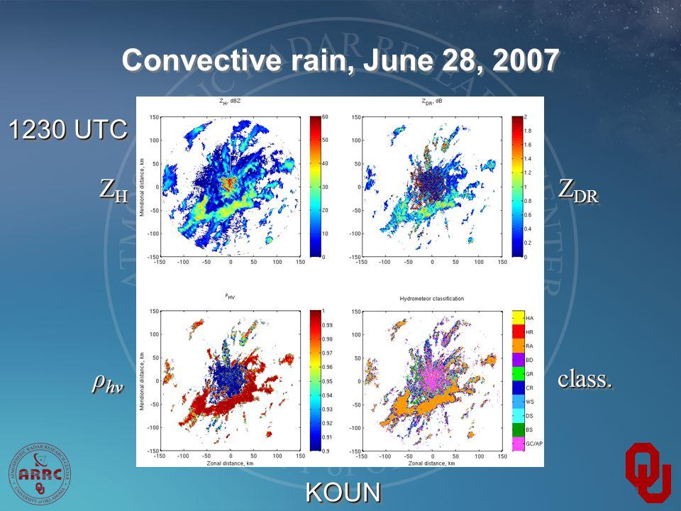 Convective rain, June 28, 2007 1230 UTC Z DR ZHZHZHZH ZHZHZHZH ρ hv class.class. KOUNKOUN