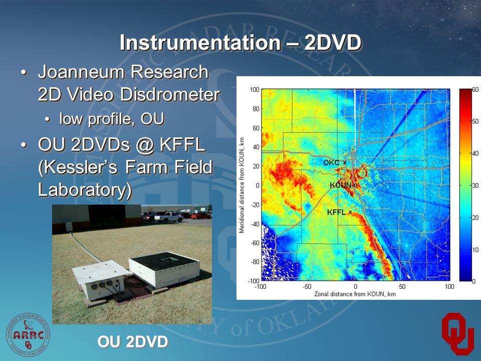 Instrumentation – 2DVD Joanneum Research 2D Video Disdrometer Joanneum Research 2D Video Disdrometer low profile, OU low profile, OU OU 2DVDs @ KFFL (Kessler's Farm Field Laboratory) OU 2DVDs @ KFFL (Kessler's Farm Field Laboratory) Joanneum Research 2D Video Disdrometer Joanneum Research 2D Video Disdrometer low profile, OU low profile, OU OU 2DVDs @ KFFL (Kessler's Farm Field Laboratory) OU 2DVDs @ KFFL (Kessler's Farm Field Laboratory) OU 2DVD