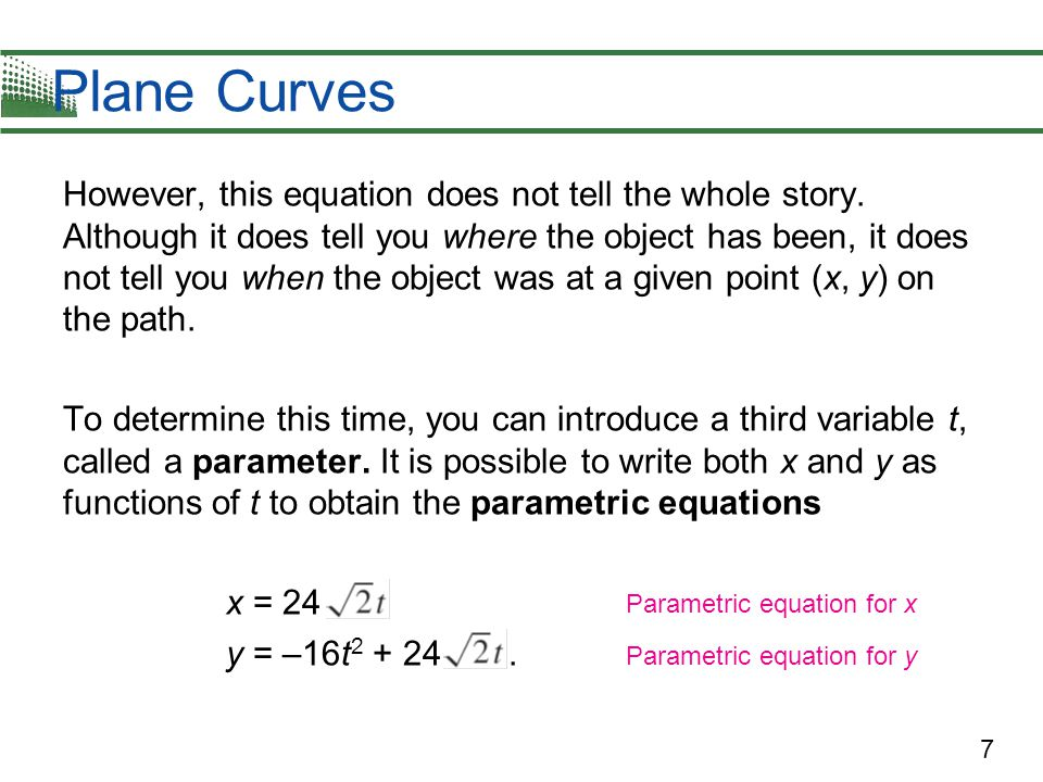 18 Eliminating the Parameter Example 1 uses simple point plotting to sketch the curve.