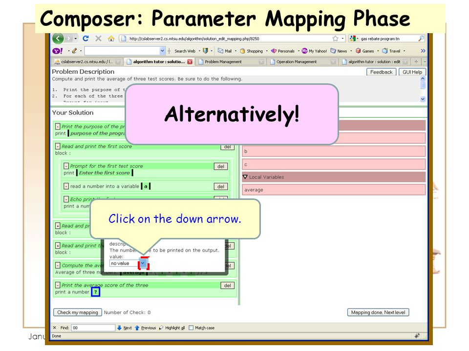 January 13, 3:35 PM Click on ? Click on the down arrow. Composer: Parameter Mapping Phase Alternatively!