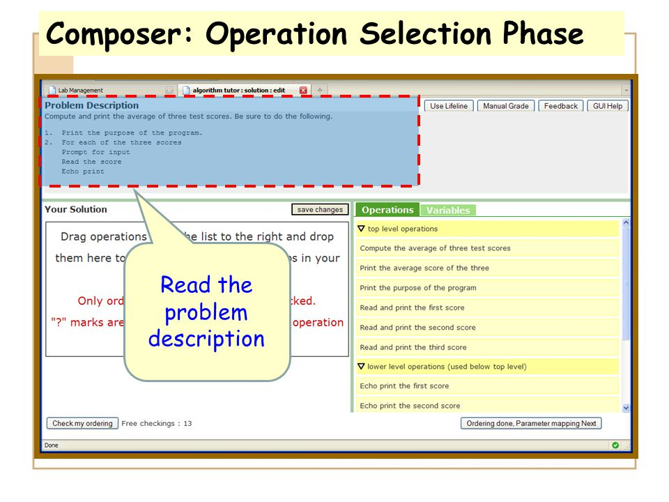 Composer: Operation Selection Phase Read the problem description