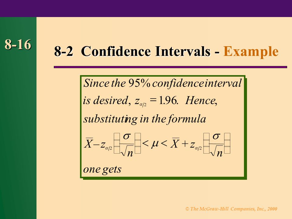 © The McGraw-Hill Companies, Inc., 2000 8-16 Sincetheconfidence isdesiredzHence substitutingintheformula Xz n Xz n onegets,, –+ 2 95% 196 22 interval