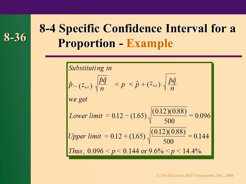 © The McGraw-Hill Companies, Inc., 2000 8-36 8-4 Specific Confidence Interval for a Proportion - 8-4 Specific Confidence Interval for a Proportion - E