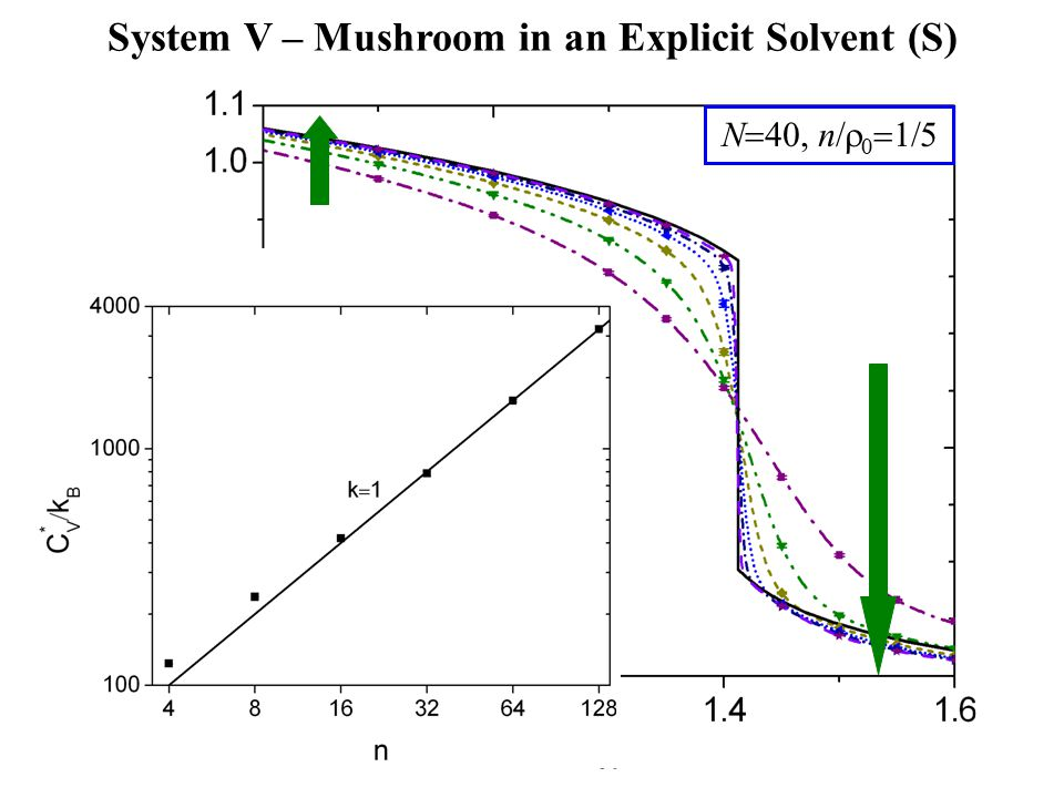N  40, n  0  1  5 System V – Mushroom in an Explicit Solvent (S)  * LSCF ≈1.412