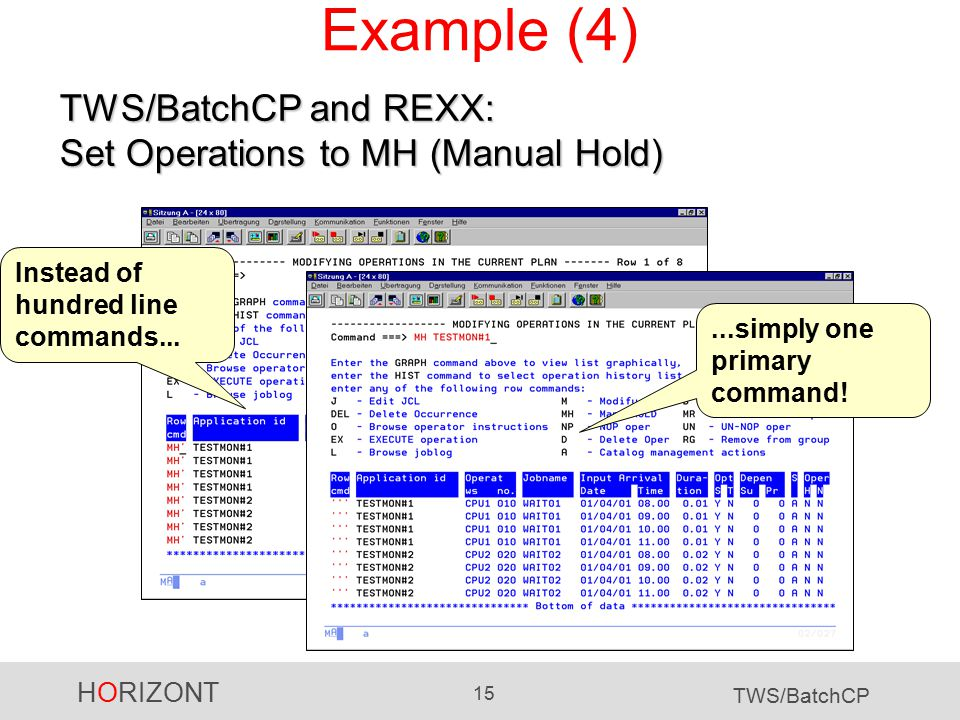 HORIZONT 15 TWS/BatchCP Example (4) Instead of hundred line commands......simply one primary command.