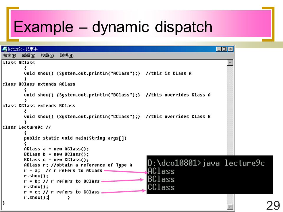 29 Example – dynamic dispatch