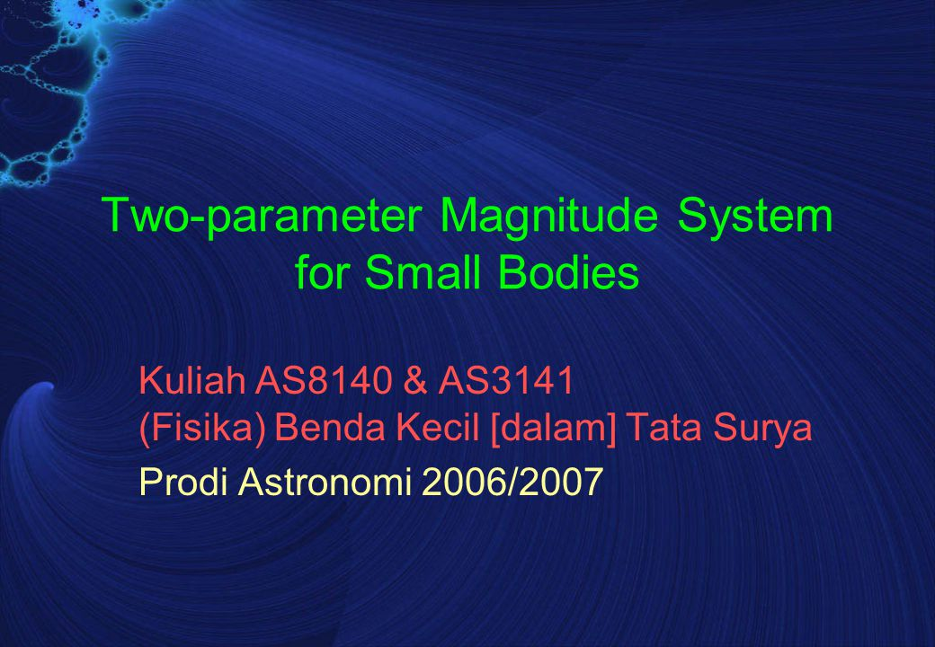 H & G Error Analysis Magnitude residuals  m(  i ) is the calculated magnitude drop from zero phase angle Then, Bowell et al.