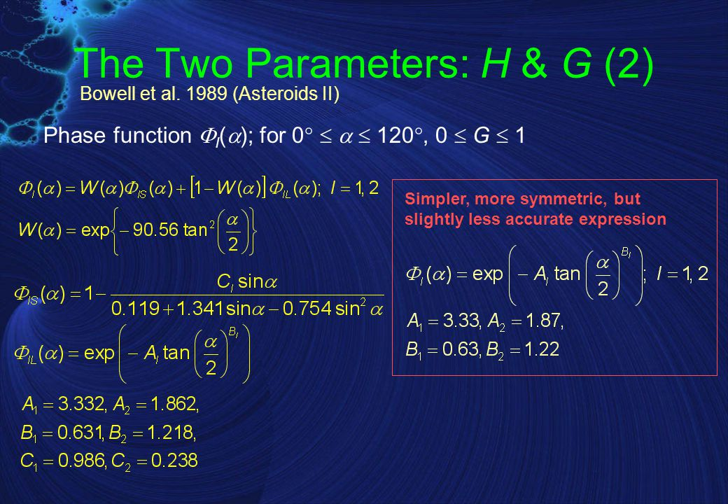 The Two Parameters: H & G (2) Phase function  l (  ); for 0     120 , 0  G  1 Simpler, more symmetric, but slightly less accurate expression Bowell et al.
