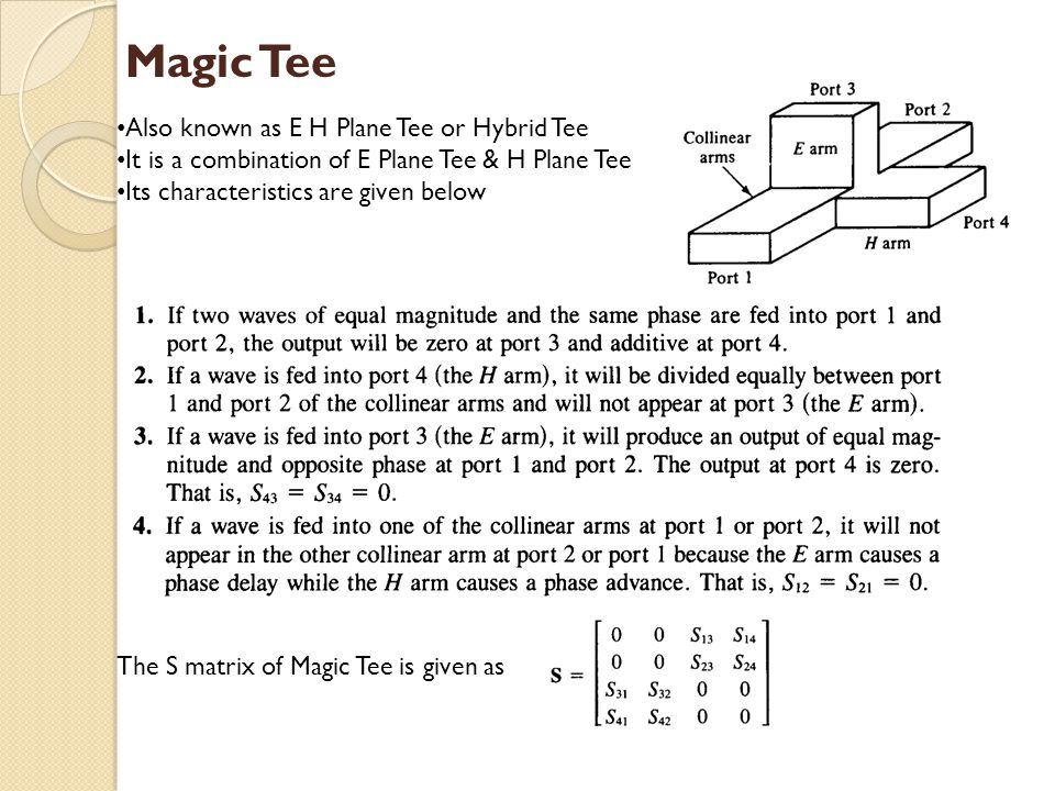 Magic Tee Also known as E H Plane Tee or Hybrid Tee It is a combination of E Plane Tee & H Plane Tee Its characteristics are given below The S matrix