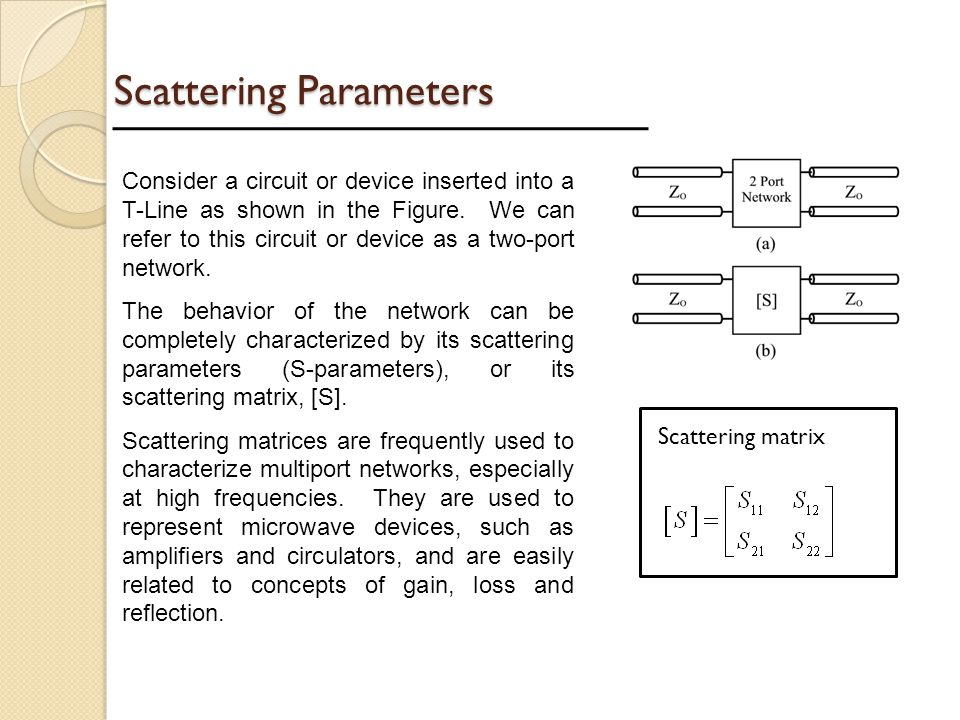 Scattering Parameters Consider a circuit or device inserted into a T-Line as shown in the Figure. We can refer to this circuit or device as a two-port