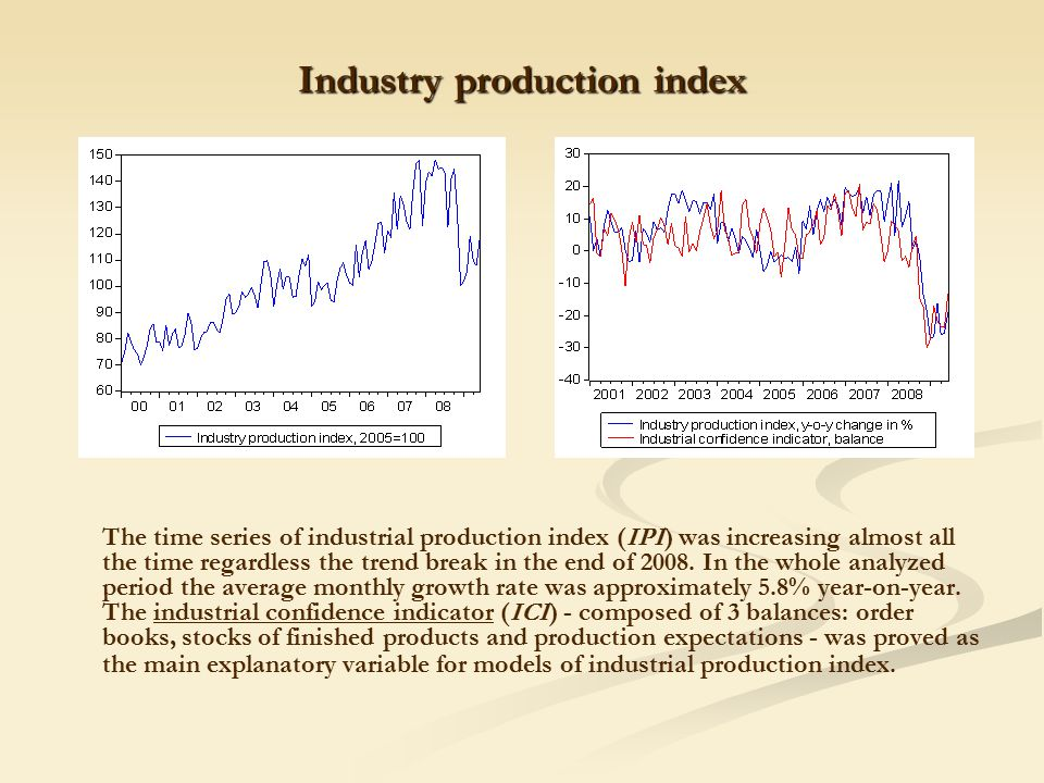 Industry production index The time series of industrial production index (IPI) was increasing almost all the time regardless the trend break in the end of 2008.