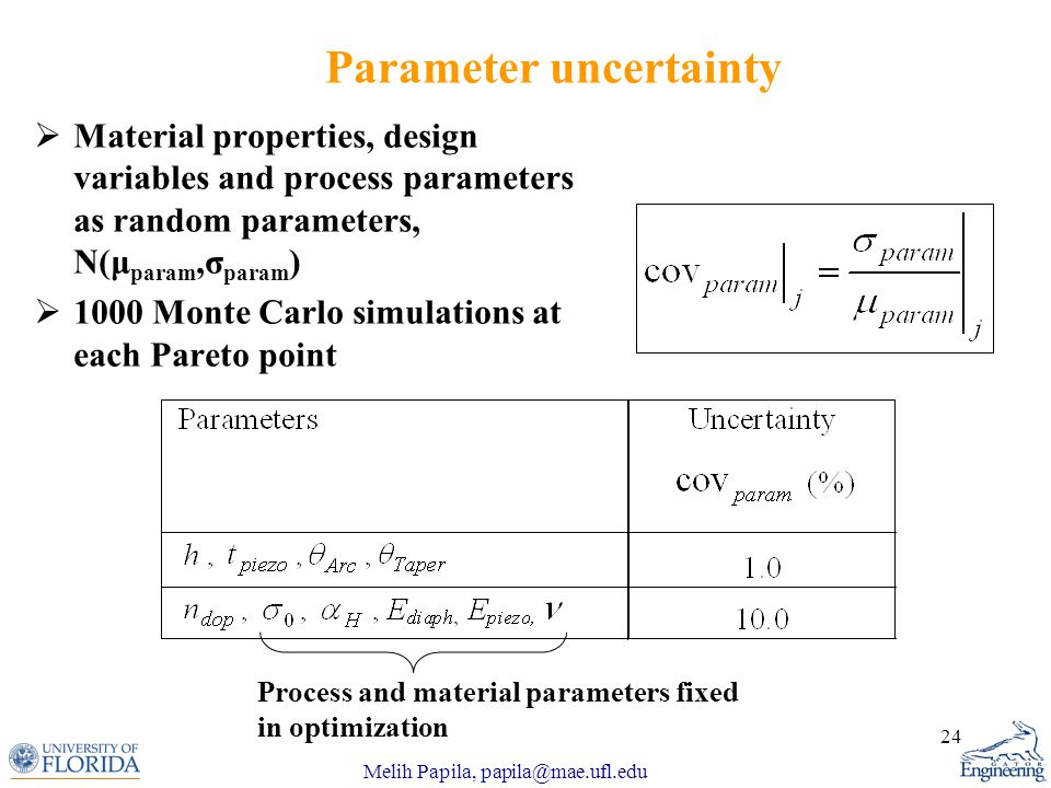 Melih Papila, papila@mae.ufl.edu 24 Parameter uncertainty  Material properties, design variables and process parameters as random parameters, N(μ param,σ param )  1000 Monte Carlo simulations at each Pareto point Process and material parameters fixed in optimization