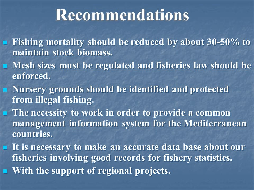 Stock status and challenges Over-exploitation due to the high fishing pressure Illegal size nets Illegal harvesting of fish fry Increasing of tourism and industrial expansion which cause damages in coastal ecosystem and pollution Lack of information on fishery status in terms of biological, ecological, social and economic policy Lake of awareness about the importance of fisheries regulations Lack of reliable fisheries statistics.